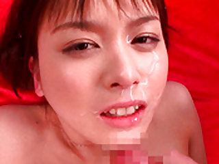 Captivating and hot japanese angel goes facial indoors