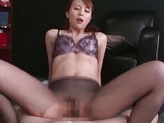 Beauty in fishnets likes riding cock and does a good job