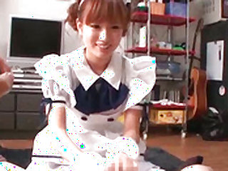 Smoking hot japanese maid is giving blowjob on her knees