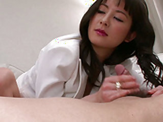 Incredible and ty babe is doing perfect handjob
