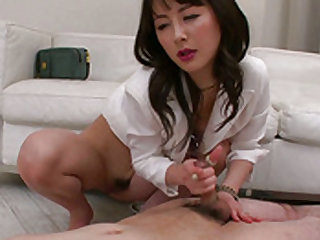 Playful and elegant office babe is doing nice handjob