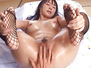 Sexy oily babe gets her tight cunt pounded by her guy