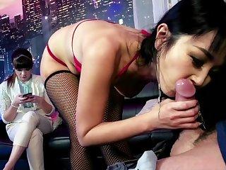 Japanese slut sucking dick and fucking in extreme scenes