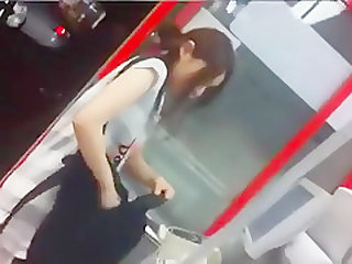 cute Japanese girl shopping upskirt