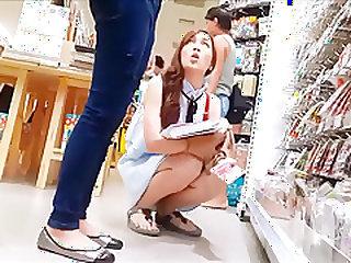 Thai girl with skirt shopping
